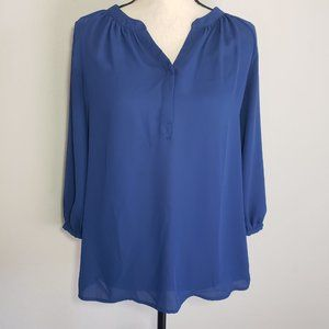 Violet + Claire V-neck Navy Blue Blouse S